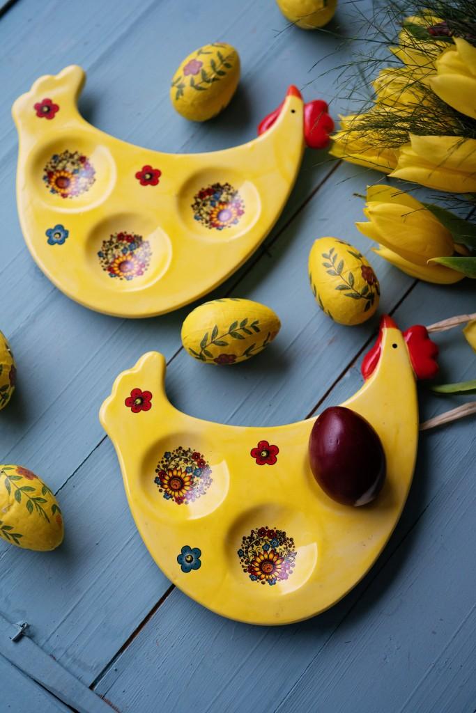 """Керамично плато за 3 яйца """"Rooster and eggs"""""""